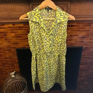 Neon lime and grey printed button up dress